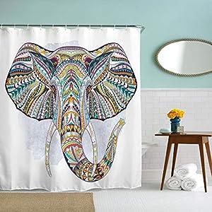 IcosaMro Elephant Shower Curtain for Bathroom with Hooks, Colorful Boho Boheme Decorative Long Cloth Fabric Shower Curtain Bath Decorations- 71Wx72L, Multi