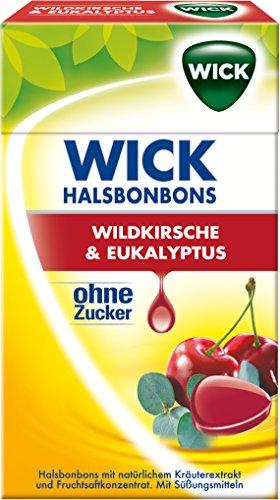 Wick Wildkirsche & Eukalyptus ohne Zucker, 10er Pack (10 x 46 g)