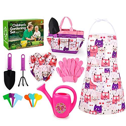 GerTong Juego de jardinería para niños, 16 herramientas de jardín para niños, kit de jardinería para niños, accesorios de jardín, juguetes educativos para niños y niñas