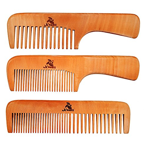 3 PCS Peach Wooden Comb Women and Men Comb  Wide amp Narrow Tooth S023