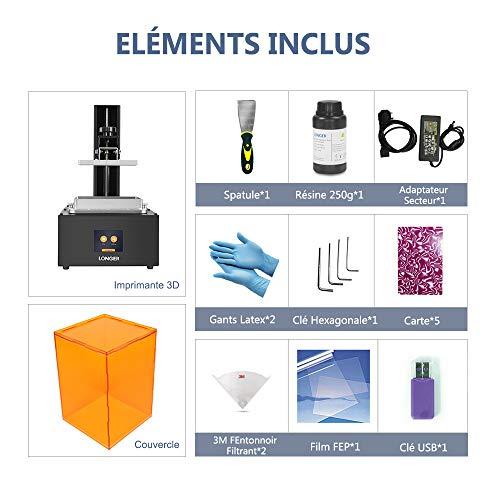 LONGER Orange 30 3D Drucker, Harz 3D Drucker mit Touchscreen, 2K-LCD-Bildschirm, Matrix-UV-LED, größeres Druckformat 12 cm (L) x 6,8 cm (B) x 17 cm (H) mit 250 g Harz - 7