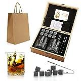 Set de regalo de Whisky Stones and Glasses, Whiskey Rocks Chilling Stones en una caja de madera hecha a mano - Bebidas frescas sin dilución - Whisky Glasses Set of 2, Gift for Dad, Husband, Men