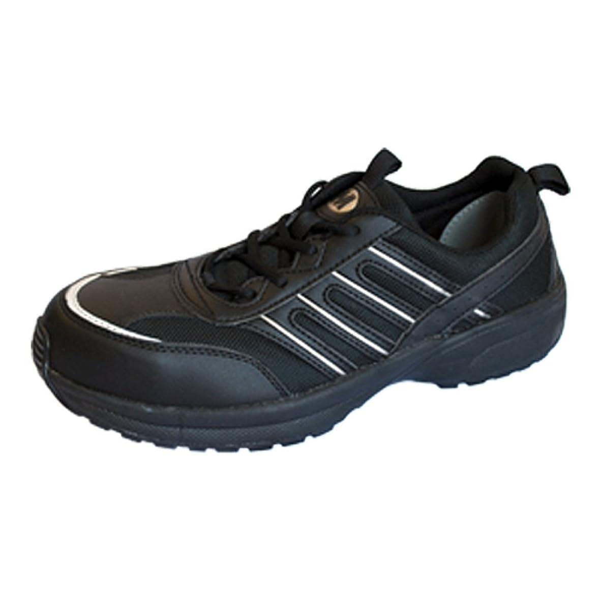 魅力ミシン突き出す[ミドリ安全] 超軽量 樹脂先芯 スニーカー ひも靴 ワークプラス MJK601 ブラック