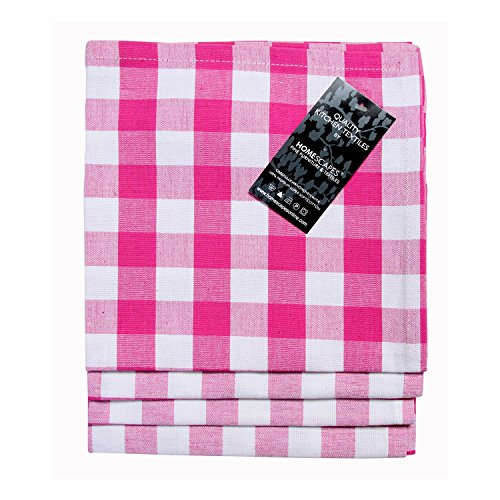 HOMESCAPES Serviettes de Table à Carreaux, Lot de 4, Linge de Table en Coton uni, Rose