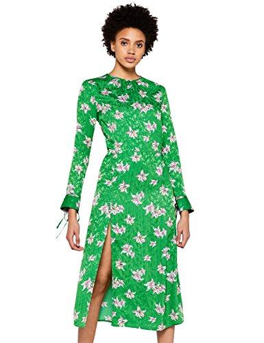 Marca Amazon - find. Vestido Midi de Flores Mujer, Verde (Green), 38, Label: S