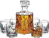 Sxfcool Decantador de Vidrio y Gafas de Vidrio de 7 Piezas Italiano y Gafas de Whisky, Elegante decantador de Whisky con tapón Adornado y 6 Gafas de cóctel exquisitas