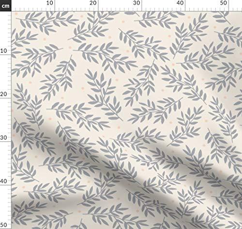 Grau, Pfirsich, Blätter, Hochzeit, Weich, Organisch Stoffe - Individuell Bedruckt von Spoonflower - Design von Megan Kline Gedruckt auf Leinen Baumwoll Canvas