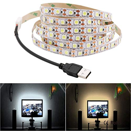 H/A 5V 5M Cable USB Potencia LED Lámpara Luz SMD 5050 Navidad Tabla de Navidad Lámpara Decorativa TV Fondo Luz de Fondo TOM-EU (Color : White, Emitting Color : 5M)