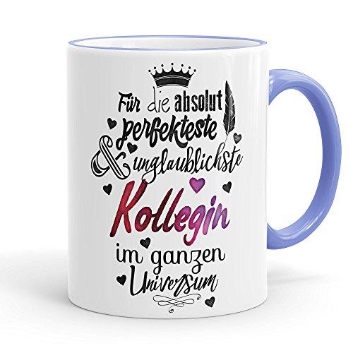 Funtasstic Tasse Für die absolut perfekteste Kollegin - Kaffeepott Kaffeebecher 375 ml, Farbe:cambridgeblue