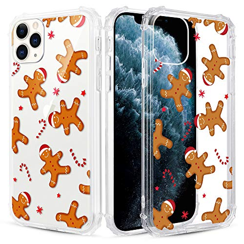 Caka Christmas Case for iPhone 11 Pro Max, iPhone 11 Pro Max Clear Floral Case with Christmas Design for Girls Women Girly Cute Slim Soft TPU Protective Case for iPhone 11 Pro Max (Gingerbread Man)