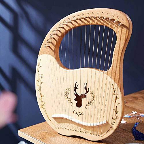 TOPQSC Lyra Harfe 19 Saiten Harfe, Stahldraht Saiten Mahagoni mit Tragetasche,Lyre 19 String Einzigartige Muster Geschnitzte phonetische Symbole