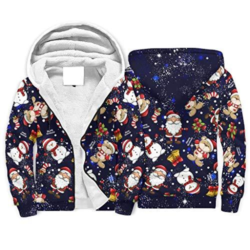 Zhcon Fleece Hoodies Santa Claus Hombres Caliente-Mantener Clásico Sherpa Forrado Jersey Blanco 3xl