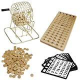 Royal Bingo Supplies Vintage Wooden Bingo Game – 6-Inch Brass Cage with Calling Board, 75 Balls, 150 Bingo Chips, 18 Bingo Cards for Large Group Games