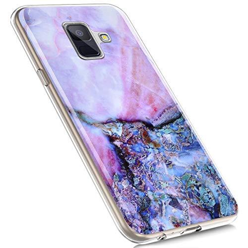MoreChioce Compatible avec Coque Samsung Galaxy A6 2018,Compatible avec Coque Galaxy A6 2018 Silicone Marbre,Jolie Violet Ambre Hybrid Crystal Flexible Souple TPU Bumper Anti-Rayures Defender