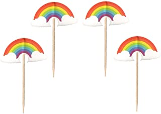 24PCS Rainbow Cupcake Toppers For Kids Birthday Party Cake Decorations
