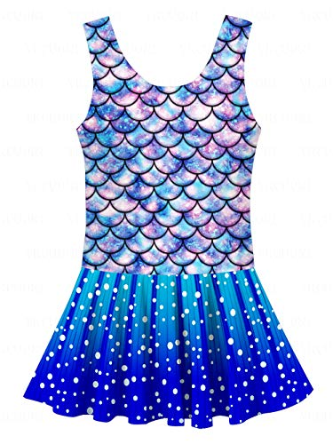 YRCUONE Little Girls One Piece Bathing Suit Novelty Mermaid Printed Swimsuit for Swimming Beach Party 5-6 Years