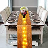 Table Runner with LED Lights Gold Table Runner Farmhouse Style 12 x 118 inches for Wedding Holiday Party Decorations