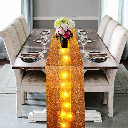Tischläufer mit LED-Lichtern, goldfarben, 30,5 x 299,7 cm, für Valentinstag, Hochzeit, Urlaub, Party, Dekoration