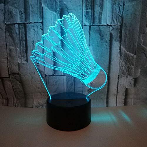 QHZCJ 3D LED Nachtlicht Badminton Geschenk für Kinder, 3D Illusion Lampe 7 Farben Ändern, Geburtstag Geschenk, Geschenke für Jungen und Mädchen