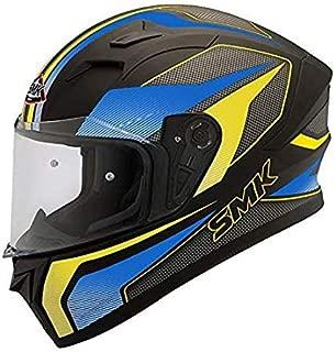 SMK Helmets - Stellar - Dynamo - Black Blue Yellow - Pinlock Anti Fog Lens Fitted Single Clear Visor Full Face Helmet - MA254 (Large - 590 MM)