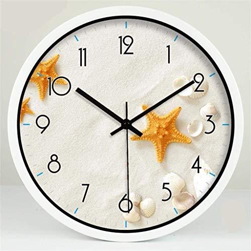 YLCJ L Wandklok, industrieel, modern, creatief, decoratie, eenvoudig, ster, woonkamer, wandklok, glas, mute-(kleur zilverkleurig, maat: 14 inch)