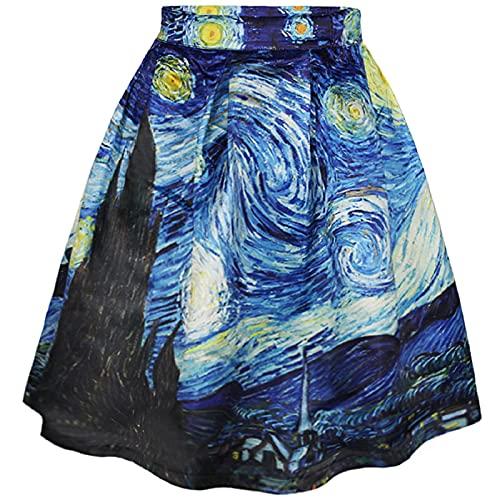 COUSIN CANAL Gonna da Donna Elastica a Campana con Stampe Artistiche Casuale (L-XL, Starry Night)