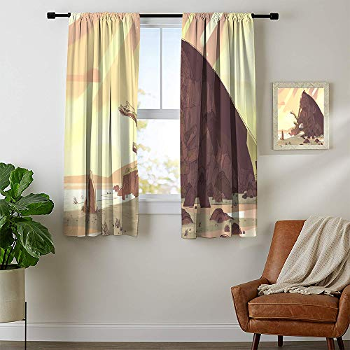 Curtains Rod Pocket 2 Panels Steven Universe Room Darkening Wide Curtains Natural Feeling W42 x L63 Machine Washable