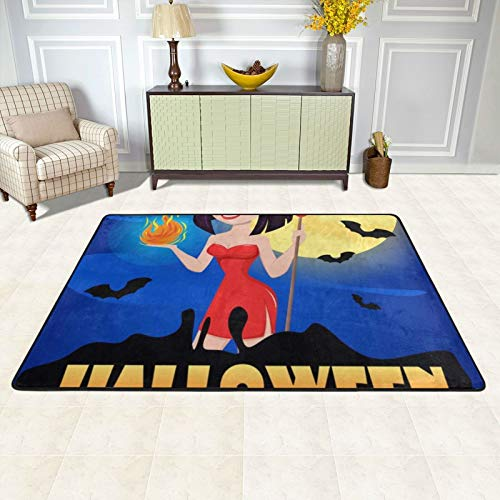 Furry Kids Rugs 72 X 48 Inch Area Rug for Girls Bedroom Nursery Play Room Luxury Fashion Vampire Fangs Black Red (5) Carpet for Living Room Home Decor Dinning Room
