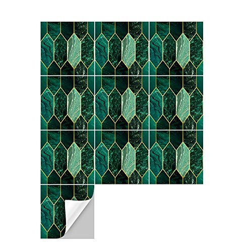 Ridewind 10 pegatinas autoadhesivas extraíbles para azulejos de cocina, pelar y pegar, resistentes al agua, azulejos para baño, color verde océano