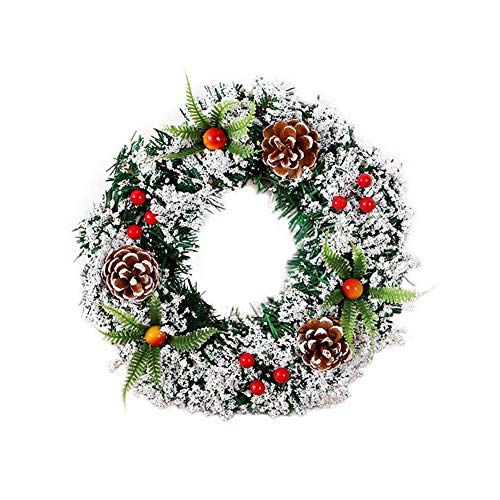 Corona di fiori, 11.8inch Natale ghirlanda con Pigna Berry, artificiale agrifoglio Corona di Natale porta ornamenti Ingresso appendere le decorazioni per Natale Capodanno