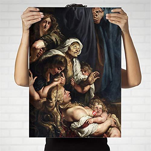 (65x90cm) Geen Frame Print muurschildering graffiti stijl schilderij Religieus Geluk Peter Paul Rubens Kamer decoratie met canvas schilderijen voor kinderen en volwassenen