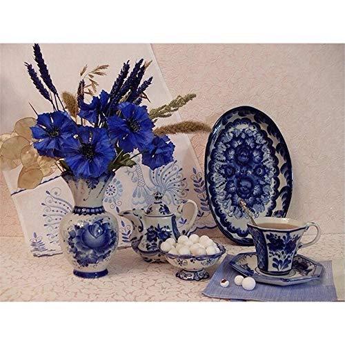 Diamond Painting Large Full Drill Porcelana azul y blanca,DIY Pintura Diamante 5D Completo Cristal Rhinestone adulto Bordado Punto de Cruz Diamante Art Craft for Home Wall Decor 60x80cm,23.6x31.5in