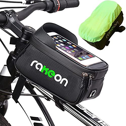"""Rakeon Borsa Telaio Bici Impermeabile Borsa Manubrio Bicicletta Mtb Porta Cellulare Touch Screen Con Visiera Parasole Per Telefoni Inferiori a 6,5"""" Grande Capacità 1,5L"""