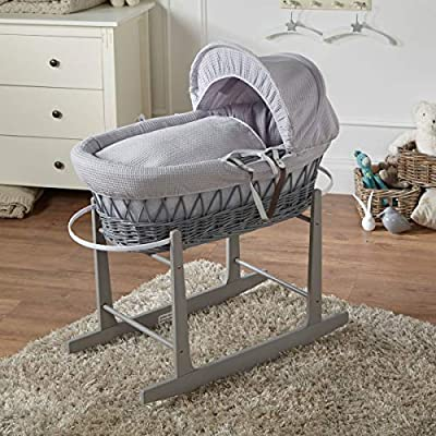 FYLO Grey Waffle Grey Wicker Moses Basket with Grey Rocking Stand