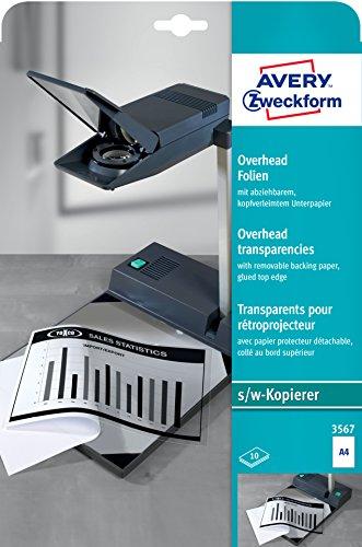 AVERY Zweckform 3567 Overhead-Folien für S/W Kopierer (10 Transparentfolien, A4, spezialbeschichtet, kopfverleimtes Unterpapier, stapelverarbeitbar, Folienstärke 0,10mm, lösemittelfrei)
