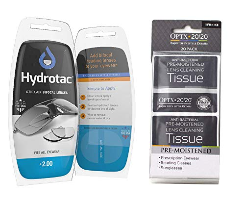 Hydrotac Stick-On Bifocal Lenses | Magnifying Adhesive Reading Lens Sticker | Sunglass Magnifier Add On | 1 Pair | Bundle with OPTX 20/20 Pre-Moistened Lens Tissues (+200)