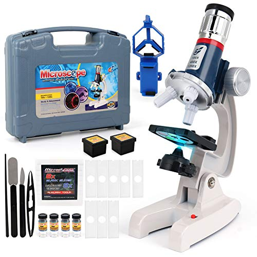 D-FantiX Microscope Kit for Kids 8-12, Kids Microscope Science Toys for Student Beginners Educational STEM Toys with LED 100X~ 1200x Magnification, Metal Body, Prepared&Blank Slides for Boys Girls
