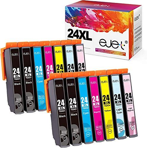 ejet 24XL cartuccia d'inchiostro compatibile per Epson 24 24XL per Epson Expression Home XP-750 XP-760 XP-850 XP-860 XP-950 XP-960 XP-55(4 Nero,2 Ciano,2 Magenta,2 Giallo,2 LC,2 LM)