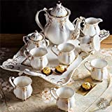 EURYTKS Porcelain Tea Sets Ceramic coffee set European style tea set with tray English afternoon teapot tea coffee cup gift set (Color : A, Kit Type : Over Eight piece Set)