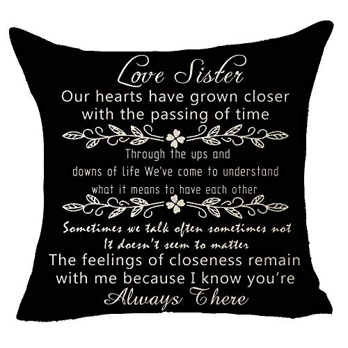 Black Love Sister To My Sister Our Hearts Have Grown Closer With The Passing of Time I Know You Are Always There Birthday Gift Throw Pillow Cover Cushion Case Cotton Linen Decorative 18 Square