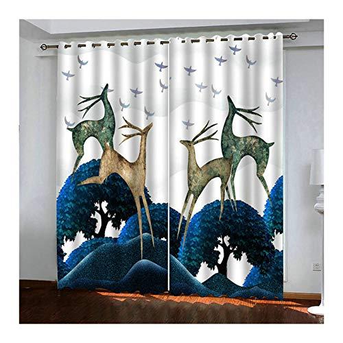 HIUYOO Fensterschals Polyester Muster Tier-Hirsch-Baum Vorhang Wohnzimmer Modern Fenstervorhänge 264X160CM Blau