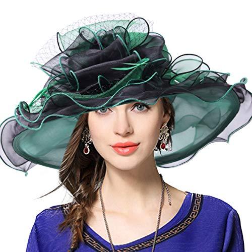 VECRY Donne Chiesa Derby Vestito Fascinator Matrimonio Festa Cappelli (Verde Nero)