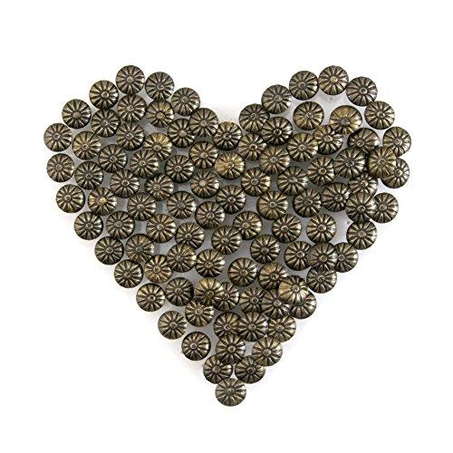 Yasorn Polsterung Ziernägel Vintage DIY Dekorative Möbel Nagel Blumenmuster Kopf (Bronze, 11x14 mm,Satz von 100 Stück)