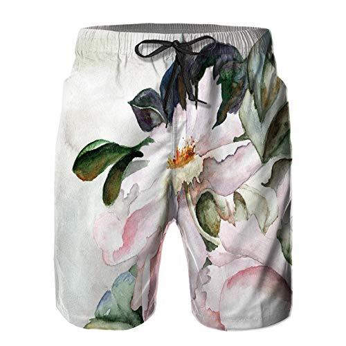 Hombres Verano Secado rápido Pantalones Cortos Playa Flor de Fondo Grunge Trajes de baño Correr Surf Deportes-S