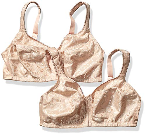 JUST MY SIZE Women's Easy-On Front Close Wirefree Plus Size Bra 2-Pack, Nude, 48DD