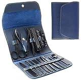 Set De Manicura - Kit De Pedicura Profesional De Acero Inoxidable 16 En 1 Kit De Cuidado De Tijeras para Uñas,Kit De Manicura/Pedicura de Viaje Portátil,Con Estuche De Cuero De PU (Azul)