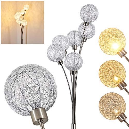 Stehlampe Bernado stufenlos dimmbar, Stehleuchte Nickel-matt/Silberfarben, 6-flammig, mit 6 Drahtkugeln, 6 x G9, moderne Bogenlampe für Wohnzimmer, Schlafzimmer, Flur, mit Fußschalter am Kabel