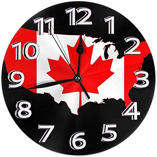 Runde Wanduhr Flagge Karte von Kanada Png PVC Uhr Silent Non-Ticking Clock Dekorative Kreis Wanduhr