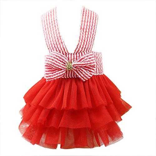 Clopon Pet's Cute Halter Bowknot Tutu Dresses Puppy Girl Dog Costumes Cute Doggie Cat Apparel Red