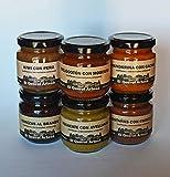 MERMELADAS ARTESANAS PACK DE 6 de 170gr. aguacate, castañas, cerezas, melocotón, mandarina, kiwi